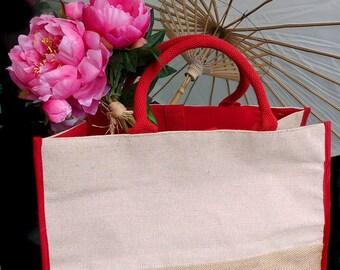 "Jute Tote Bag w/ Red Cotton & Jute Accents 17.5""WX11.5""HX8.5""D"