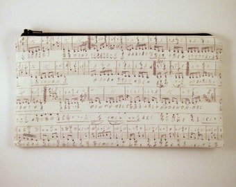 Music Notes Zipper Pouch, Pencil Case, Make Up Bag