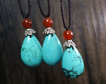 Chunky Turquoise Necklace - Long Chain Turquoise Necklacelarge - Teardrop Turquoise Pendant - December Birthstone -