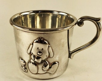 COLLECTORS ITEM, SILVER Baby Snoopy Cup, By Lenox