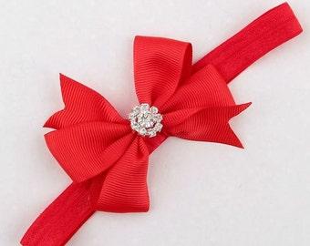 RED Rhinestone Embellished Pinwheel Bow Headband, Baby Headbands, Girl Headbands, Infant bows, hair accessories