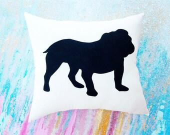 English Bulldog Dog Silhouette Throw Pillow, Decorative Pillow,Housewarming Gift, Dorm Decor,UGA,Christmas Gift, Gift for Her, Bulldog Gift