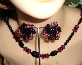 Amethyst Purple Lavender Black Faceted Glass Bead Long Necklace Matching Clip on Earrings Badabling Jewelry
