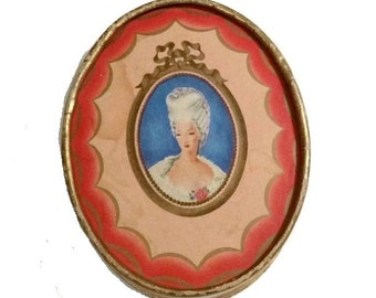 Antique Face Powder Box DU BARRY Marie Antoinette Cameo Queen of France Vintage Vanity Beauty Makeup 1910s Jewelry Box HUDNUT Collectible