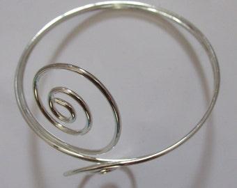 Silver tone swirl upper arm cuff summr beach bikini bracelet armband - Some distress. Show off your tanned arms