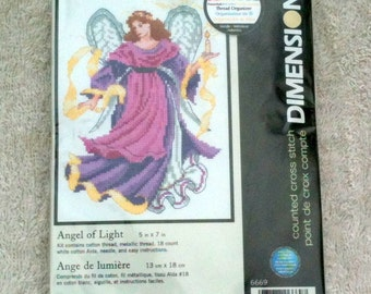 Dimensions Counted Cross Stitch Kit Angel of Light Multi Lingual Instructions Deserdog Destash  b40