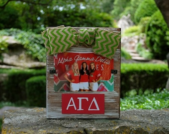 Alpha Gamma Delta Whitewashed Rustic Frame With Greek Letters