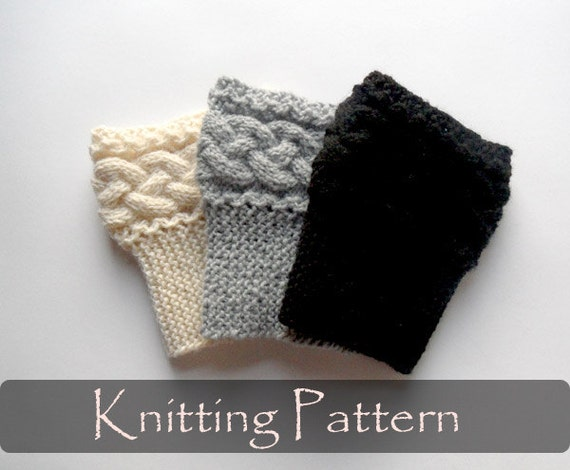 Knitted Pouffe Patterns : Items similar to KNITTING PATTERN - Braided Boot Cuffs Cable Knit Boot Topper...