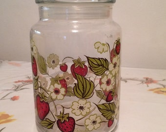Vintage Strawberries & White Flowers Glass Canister