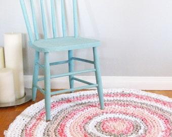Superb Round Rag Rug | Custom Rug | Girl Nursery Decor | Girl Nursery Rug | Crochet