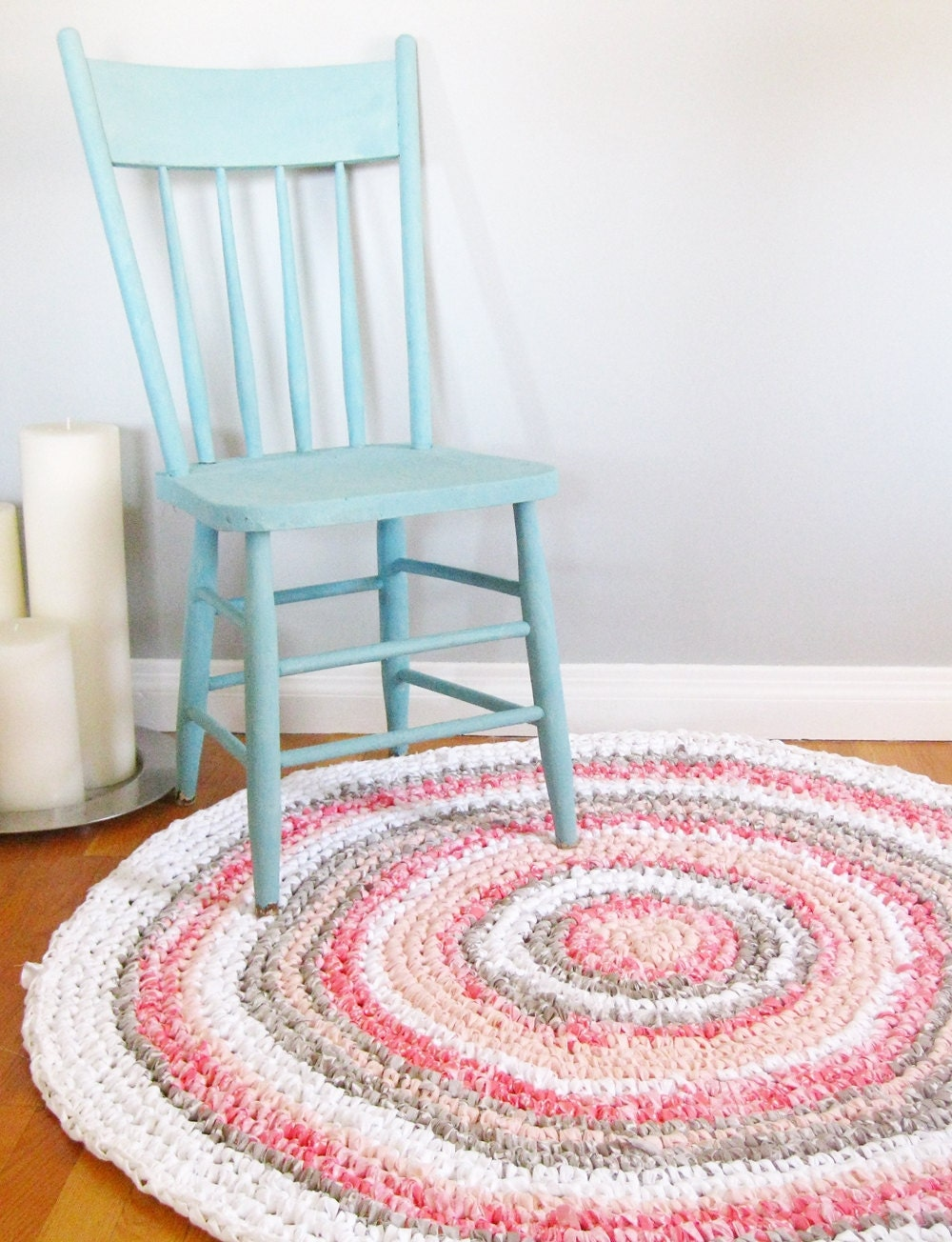 round rag rug custom rug girl nursery decor girl nursery. Black Bedroom Furniture Sets. Home Design Ideas