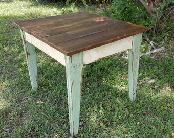 Wood table - Side table - living room table - Handmade Reclaimed Wood Farmhouse Side Table