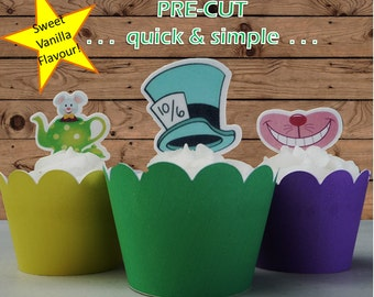 Mad Hatter's Tea Party edible wafer Cupcake Cake Toppers Birthday PRE-CUT