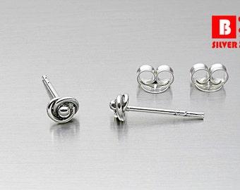925 Sterling Silver Oxidized Earrings, Knot Earrings, Stud Earrings, Size 3.5 mm (Code : ED74)