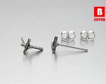 925 Sterling Silver Oxidized Earrings, Cross Earrings, Stud Earrings (Code : EG41)