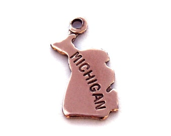 2x Rose Gold Plated Engraved Michigan State Charms - M131-MI