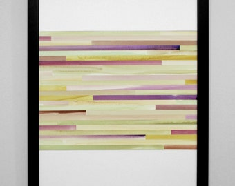"""Art Print, Abstract Painting, Watercolor, Collage - Greens, Grays, and Purples - """"Plum"""" - modern art"""