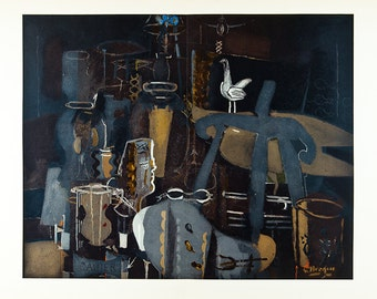 GEORGES BRAQUE - 'Atelier VI' - large limited edition vintage offset lithograph - c1964 (Mourlot/Maeght, Paris)
