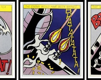 ROY LICHTENSTEIN - 'As I Opened Fire' - triptych of vintage lithographs - first edition - c1966 (Stedelijk Museum, Amsterdam)