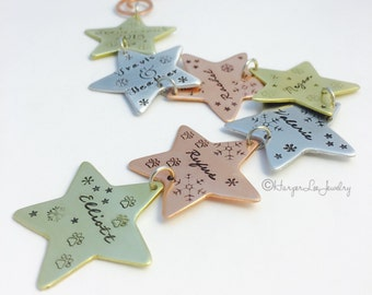 Mixed Metal ~ Christmas Ornament ~ Personalized ~ Family Ornament ~ Names ~ Custom Stamped Ornament ~ Personalized Star ~ Pet Ornament  ~HLJ