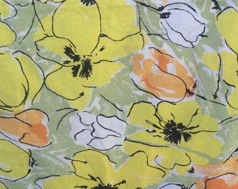 Vintage Vera Neumann Pillow case, queen size ,yellow and orange floral.