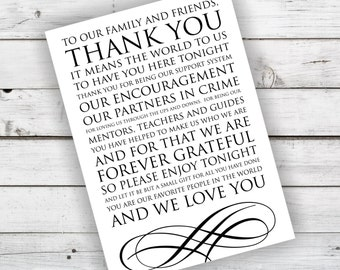 Wedding Reception Thank You Card in Black and White - INSTANT DOWNLOAD