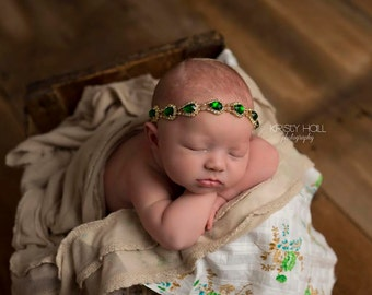 Emerald and Gold Rhinestone Headband, Baby Girl Headband, Emerald Headband, Rhinestone Headband, Newborn Photo Prop