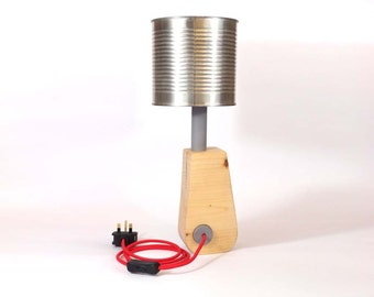 Tin-can up-lighting lamp with reclaimed wood