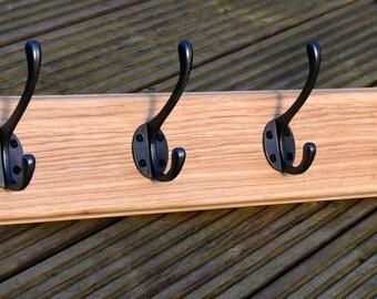 4 (Four) Hook Oak Coat Rack  -  Cast Iron Coat Hooks on Oak Board / Plinth - Traditional Design - Hand Crafted - Various size options