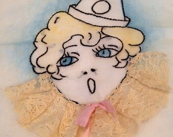 Whimsical Handmade Vintage Ladies Lace & Embroidery Hosiery Bag From The 1930's