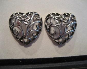 Vintage Pair of Sterling Silver Floral & Scroll Work Heart Shaped Earrings-Piecered Ears