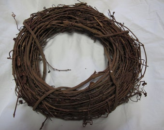 Handmade twig wreath / vintage / To be used alone or decorate