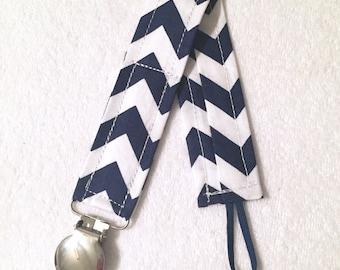 Navy Chevron Pacifier Clip - blue - binky clip - pacifier holder