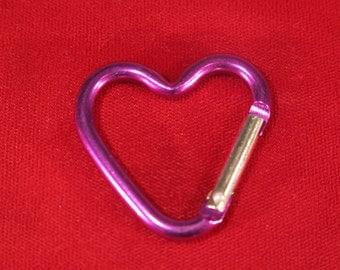 "BULK 15pc ""heart carabiner"" clip-ons purple (BC775 -purple)"