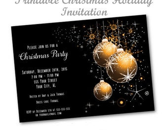 Elegant Holiday Invitation, Christmas Party Invitation, Black And Gold Christmas Invitation, Printable Christmas Holiday Invitation