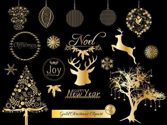 gold christmas clipart christmas ornaments deer christmas tree gold foil scrapbooking crafts clip art snowflakes holiday clipart - Gold Christmas Tree