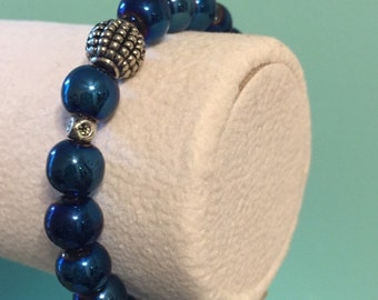 Handmade Beaded Stretch Bracelet in cobalt blue
