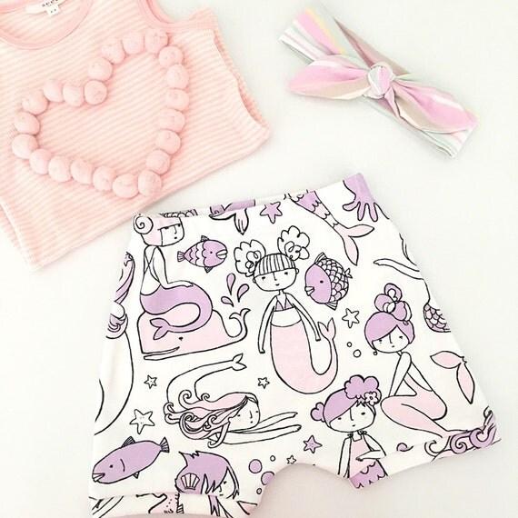 Pastel Mermaid baby and toddler shorts