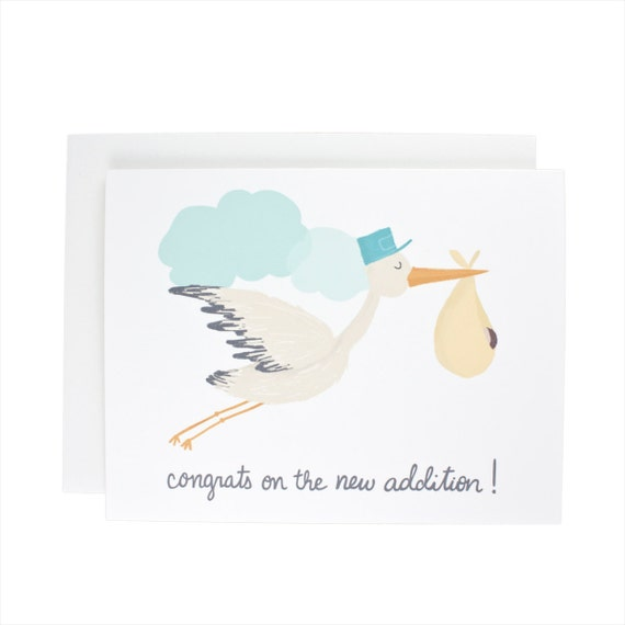 Congrats On The New Addition baby greeting card, other half, love, illustration, stork, new baby