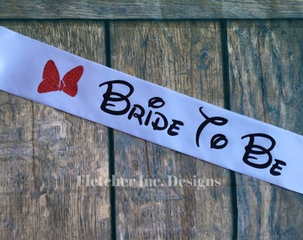 """Adult-Minnie Inspired """"Bride To Be""""- Disney Inspired, Glitter Bow, Party Sash."""