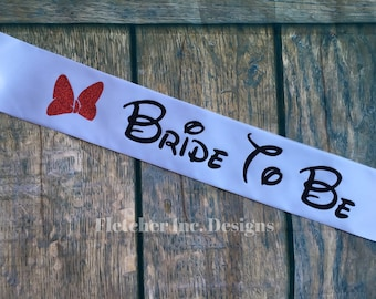 """Adult- Minnie Inspired """"Bride To Be""""- Disney Inspired, Glitter Bow, Party Sash, Disney Bride."""