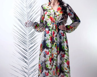 On Sale, maxi floral dress, long tunic dress, button down dress, floral dress, long sleeves tunic, semi sheer, limited edition