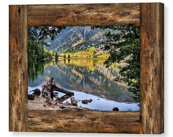 Mountain Lake Rustic Cabin Window View Canvas Art