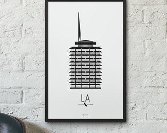Los Angeles Icon City Print - Minimalist Poster - Capitol Records Building