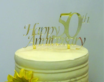 6 inch Happy 50th Anniversary CAKE TOPPER - Celebrate, Party, Cake Decoration