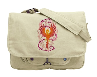 Phoenix in Fantasy Flames Embroidered Canvas Messenger Bag