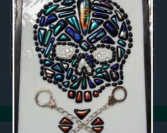 Mosaic Dicroic Skull wall hanging
