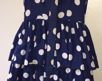 Adorable 1970's Lanz polka dot lined dress