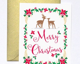 Cute Christmas Cards, Merry Christmas Cards, Deer Christmas Cards, Christmas Cards, Unique Christmas Card Set of 8