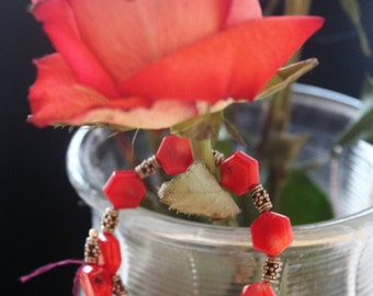 Red coral and silver wire wrap bracelet